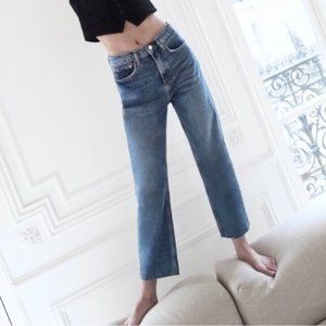 NEW ZARA high rise ankle straight jeans